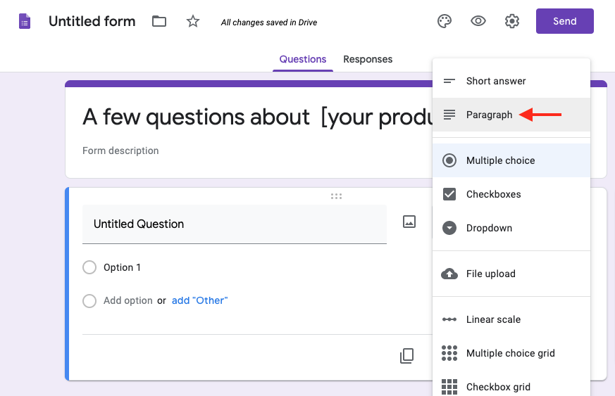 change google forms question from multiple choice to paragraph